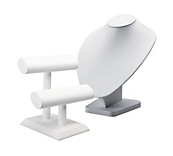 Economy White Leatherette Jewellery Stands