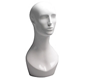 Male White Gloss Mannequin Head & Shoulders