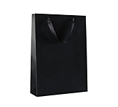 Black Ribbon Handle Paper Carrier Bags
