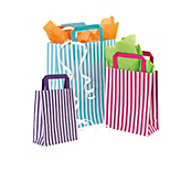 Candy Stripe Paper Carrier Bags - Flat Handled