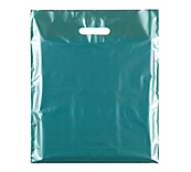 Metallic Green Plastic Carrier Bags