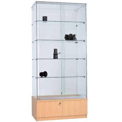 Clearview Frameless Glass Display Cabinets - Beech