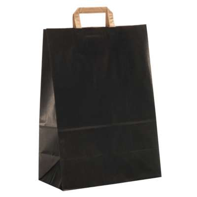 Black Flat-Handled Paper Carrier Bags