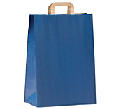 Blue Flat-Handled Paper Carrier Bags