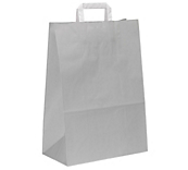 Grey Flat-Handled Paper Carrier Bags