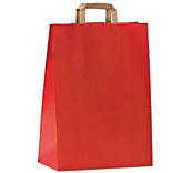 Red Flat-Handled Paper Carrier Bags