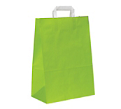 Flat-Handled Lime Green Paper Carrier Bags