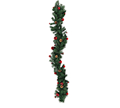 Decorated Garland Asstd Green And Red