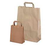 Economy Brown Flat Handled Carrier Bags