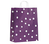 Fashion Dot Carrier Bags - Aubergine