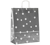 Fashion Dot Carrier Bags Silver - Satin