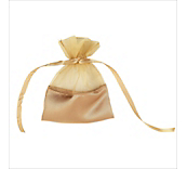 Gold Organza Bag With Satin Base