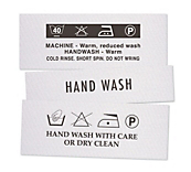 Hand Wash Clothing Labels