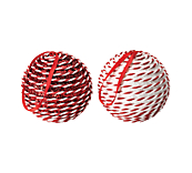 Hanging Plain Baubles - Red And White