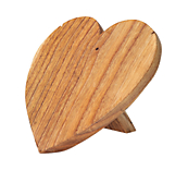 Wooden Heart Shaped Jewellery Display Stands - Natural