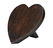 Wooden Heart Shaped Jewellery Display Stands - Walnut