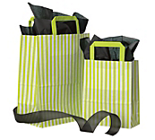 Green Stripe Flat Handle Carrier Bags