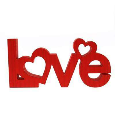 Love Word Standing, Wood, Red