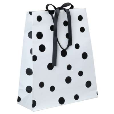 Luxury Polka Dot Paper Carrier Bags - Black