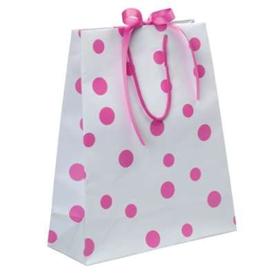Luxury Polka Dot Carrier Bags - Pink