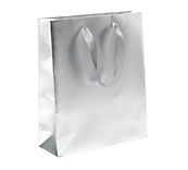 Luxury Matt Silver Carrier Bags with Tags