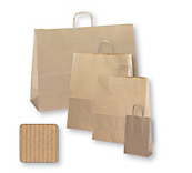 Brown Ribbed Paper Carrier Bags