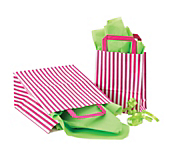 Pink Stripe Flat Handle Carrier Bags
