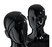 Female Gloss Black Plastic Mannequin Heads