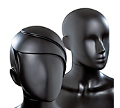 Female Matt Black Plastic Mannequin Heads