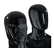 Male Gloss Black Plastic Mannequin Heads