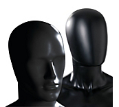 Male Matt Black Plastic Mannequin Heads