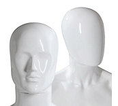 Male Gloss White Plastic Mannequin Heads