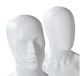 Male Matt White Plastic Mannequin Heads