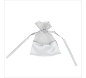 Silver Organza Bags With Satin Base