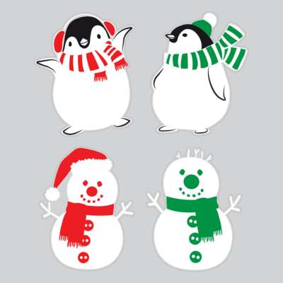 Snowmen And Penguin Window Cling