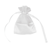 White Organza Bags With Satin Base