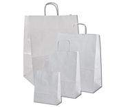 White Ribbed Kraft Paper Carrier Bags