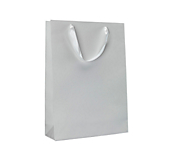 White Ribbon Handle Paper Carrier Bags