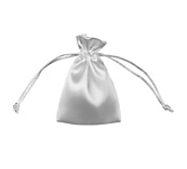 White Satin Drawstring Bags